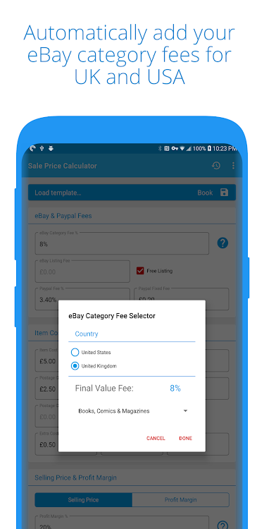 Sale Price Ebay Selling Price Profit Calculator Android Apps Appagg