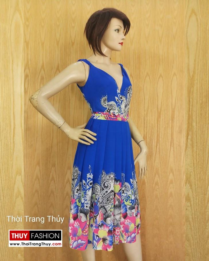 Váy xoè cổ chữ V vạt chéo hoạ tiết hoa V689 thời trang thuỷ đà nẵng