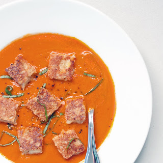 Spicy Tomato Soup with Grilled Cheese Croutons Recipe