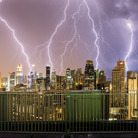 Lightning City by Martin Yon - City,  Street & Park  Skylines ( thunder, lightning, cbd, thunderstorm, skyscrapers, weather, singapore, city )