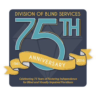 Blue and Gold Division of Blind Services 75th anniversary logo with diamond in background