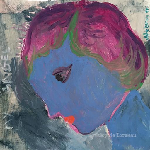 premier-amour-first-love-in-love-angel-amoureux-lovers-bleu-blue-passion-man-sophie-lormeau-artiste-peinture-french-artist-art-tableau-paper-painting-peinture-acrylic-collage-portrait