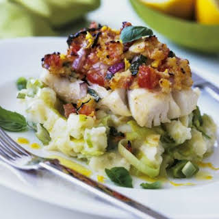 Cod Fillets over Mash and Leeks.