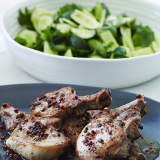 Pork Chops with Pink Peppercorns and Cucumber Salad