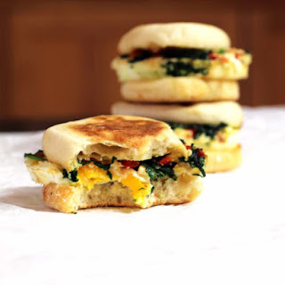 Greek Spinach and Feta Egg McMuffin Breakfast Sandwich
