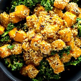 Sesame Crusted Pumpkin Kale Salad.