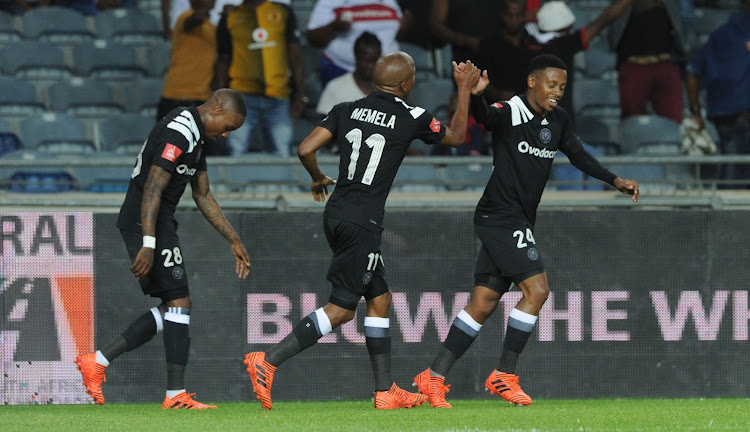 Luvuyo Memela of Orlando Pirates celebrates goal with teammates during the Absa Premiership match against Baroka FC on 06 January 2018 at Orlando Stadium.