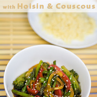 Broccoli, Red Pepper and Asparagus With Hoisin Sauce and Couscous.