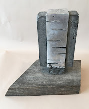 Photo: WRAPPED FORM - 9H X 10W X 6D Lost Foam Aluminum Casting, Weathered Ipe