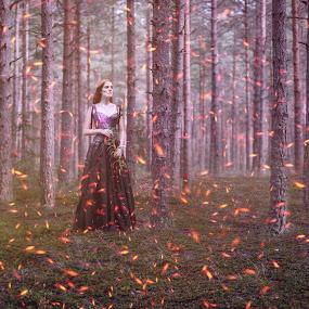 Waiting... by Ilkgul Caylak - Digital Art People ( imagine, nature, edited, cool, photoshop, girl, nice )