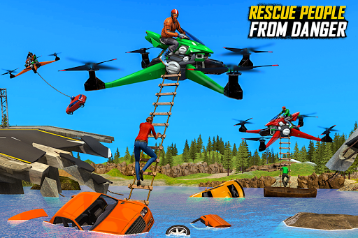 Drone Rescue Simulator: Flying Bike Transport Game android2mod screenshots 5