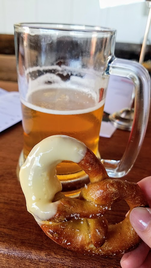 OP Wurst on Division, homemade pretzel with warm beer cheese sauce
