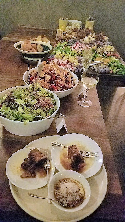 Nightwood Society's Farm 2 Turntable event, bountiful farm to table board of cheeses and vegetables, chicory salad and a beet salad