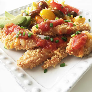 Couscous Crusted Chicken Tenders with Corn & Tomato Salad