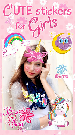 Cute Stickers for Photos ud83dudc9d Girl Pic Editor 1.0 screenshots 1
