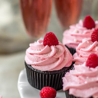 Dark Chocolate Cupcakes with Raspberry Champagne Frosting