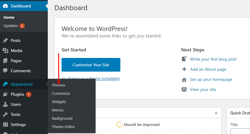 Wordpress Dashboard to start a blog in South Africa
