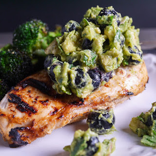 Grilled Chicken with Blueberry Guacamole.