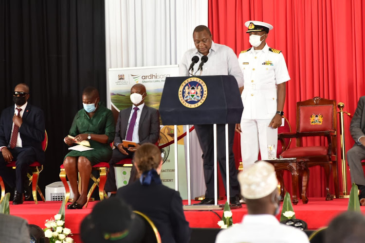 President Uhuru Kenyatta during the launch of Ardhi Sasa platform
