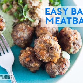 Easy Baked Meatballs with grilled onions
