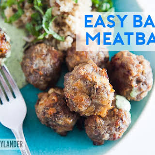 Easy Baked Meatballs with grilled onions.