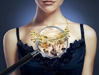 vrouw met halsketting; een loupe boven de ketting toont vluchtende mensen uit brandende bezittingen