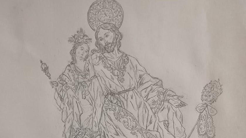 Boceto de los hermanos Cava de la imagen de San José.