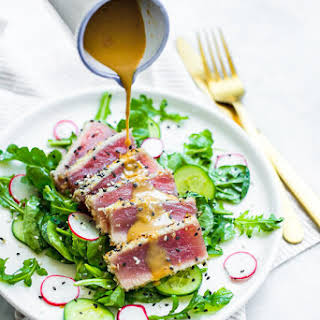 Seared Tuna Salad with Wasabi Butter Sauce.