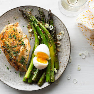 Roasted Chicken With Sautéed Asparagus And Soft-cooked Eggs