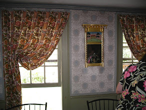 Photo: Parsonage, parlor curtains, wallpaper and mirror