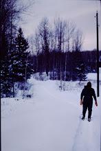 Photo: Winter scenes ('89-'90) Lorraine on snowshoes.
