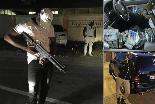 Atteridgeville's criminal Team Volt SA pose on Twitter with assault rifles and bundles of cash.