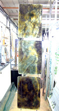 Photo: 'Iron Woman', 2008 - Fused glass stained with iron, 3 panel hanging - 100x25cms - SALE PRICE £250