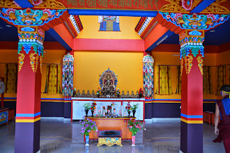 Photo: A broader interior view of the Medicine Buddha Shrine located on the top level of of the Sowa Rigpa Medical Institute.