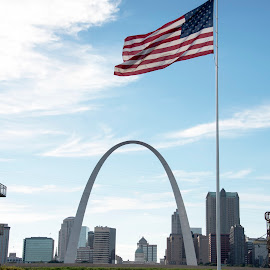 the arch by Jody Jedlicka - City,  Street & Park  City Parks ( st louis, gateway to the west, arch, patriotic, american )