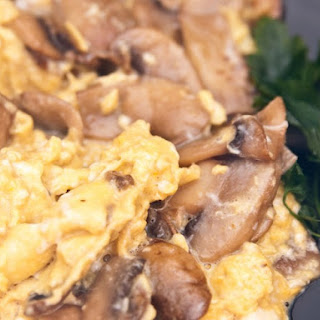 Scrambled Eggs In Mushroom And Cheese Sauce