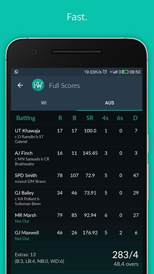 Fast cricket scores HW Cricket- screenshot