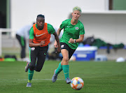 Thembi Kgatlana and Janine Van Wyk during the 2019 FIFA Womens World Cup South Africa Afternoon Training on the 04 June 2019 at Le Harve, France.