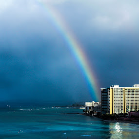 Rainbow over Honolulu by Jodi Olson - Landscapes Beaches