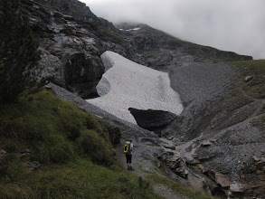 Photo: We come to an ominous-looking snow bridge