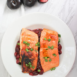 Grilled King Salmon with Plum Sauce.