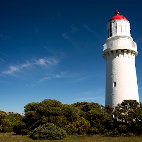Cape Shank Light House by Phil Hanna - Buildings & Architecture Other Exteriors ( clouds, point nepean, sky, red, blue, green, australia, light house, white, bush, victoria )