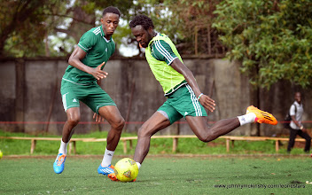 Photo: Khalifa Jabbie and Kei Kamara  [Training Camp ahead of Leone Stars v Swaziland Game on 31 May 2014 (Pic: Darren McKinstry)]