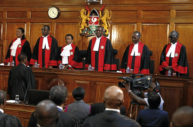 The judges of the Kenyan Supreme Court. File photo.