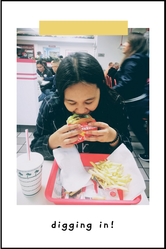 Digging into my In-N-Out Double Double burger
