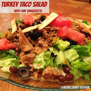 Turkey Taco Salad with Lime Vinaigrette.