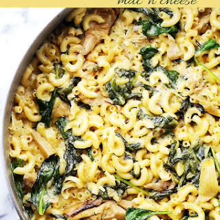 One Pot Macaroni and Cheese with Spinach & Artichokes.