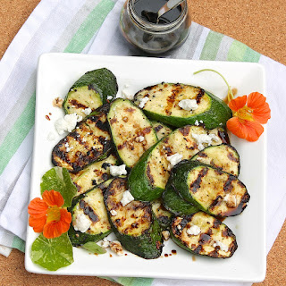 Grilled Zucchini with Goat Cheese and Balsamic-Honey Syrup