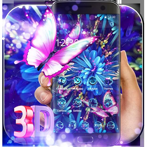 Purple Neon Butterfly 3D Theme