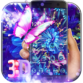 Purple Neon Butterfly 3D Theme